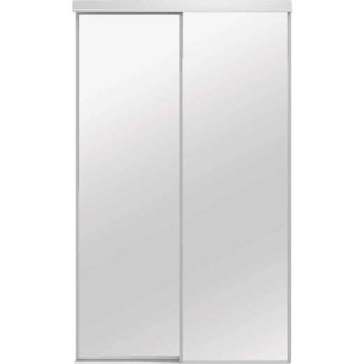 Colonial Elegance Economical Series 48 In. x 80-1/2 In. White Framed Mirrored Sliding Bypass Door