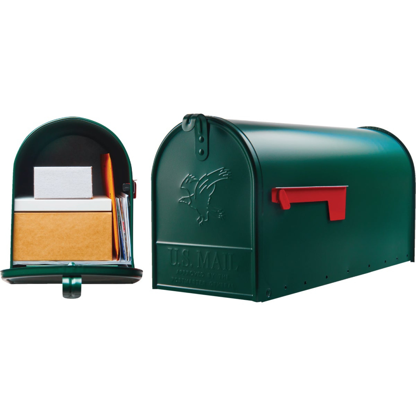 Gibraltar Elite T2 Large Green Steel Rural Post Mount Mailbox Image 1