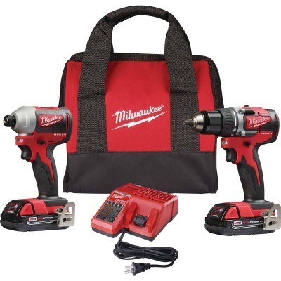 Milwaukee 2-Tool M18 Lithium-Ion Brushless Compact Drill/Driver & Impact Driver Cordless Tool Combo Kit