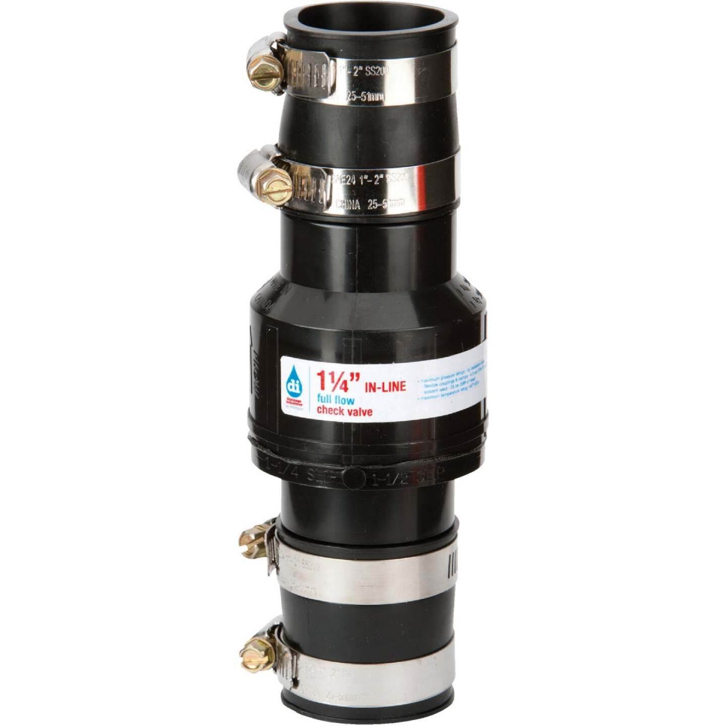 Drainage Industries 1-1/4 In. ABS Thermoplastic In-Line Sump Pump Check Valve Image 1