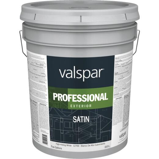 Valspar PROFESSIONAL 100% Acrylic Satin Exterior House Paint, High-Hiding White, 5 Gal.