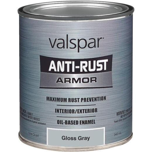 Valspar Anti-Rust Oil-Based Gloss Armor Rust Control Enamel, Gray, 1 Qt.